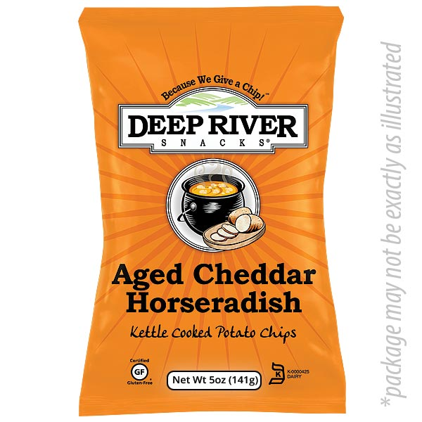 Aged Cheddar Horseradish Kettle Chips from Deep River 5 oz